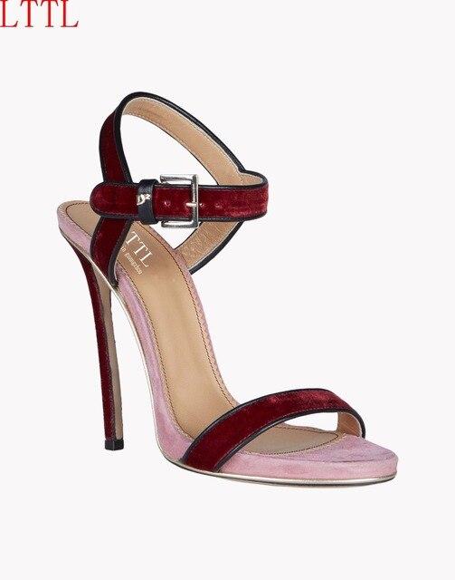 4a0d332fcddd8 2017 lttl simple moda lato buty damskie sandały wysokie obcasy szpilki  czerwone i niebieskie pantofle szpilki
