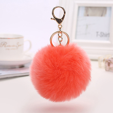 100Pcs 29Color Puff Ball KeyChains Personalised Cute Key Chains Womens Rings Key Chains Big Ball Car Bag Customized Key Chains