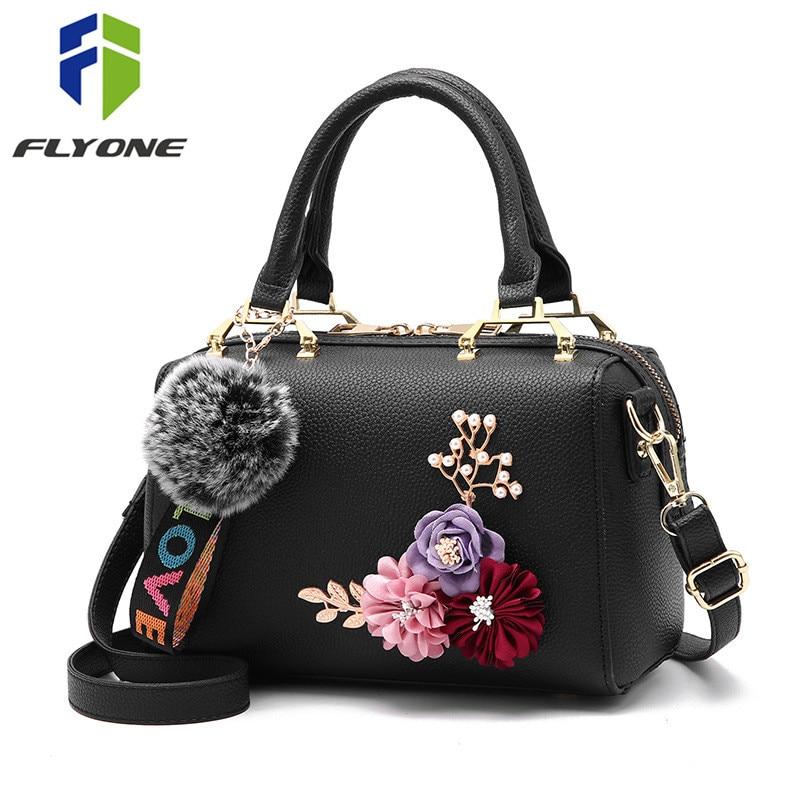 Female Handbags Fur Tote-Bag Messenger Shoulder Fashion Ladies Women Flower Top-Quality
