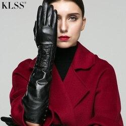 KLSS gants de marque en cuir véritable | Longs gants pour femmes de 50cm, tendance en peau de chèvre noires, automne hiver Plus velours X80