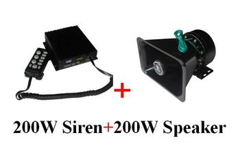 CJB200Z 200W car warning alarm amplifier with microphone,7 warning sounds,volume adjust,2 lights switches+1unit 200W speaker