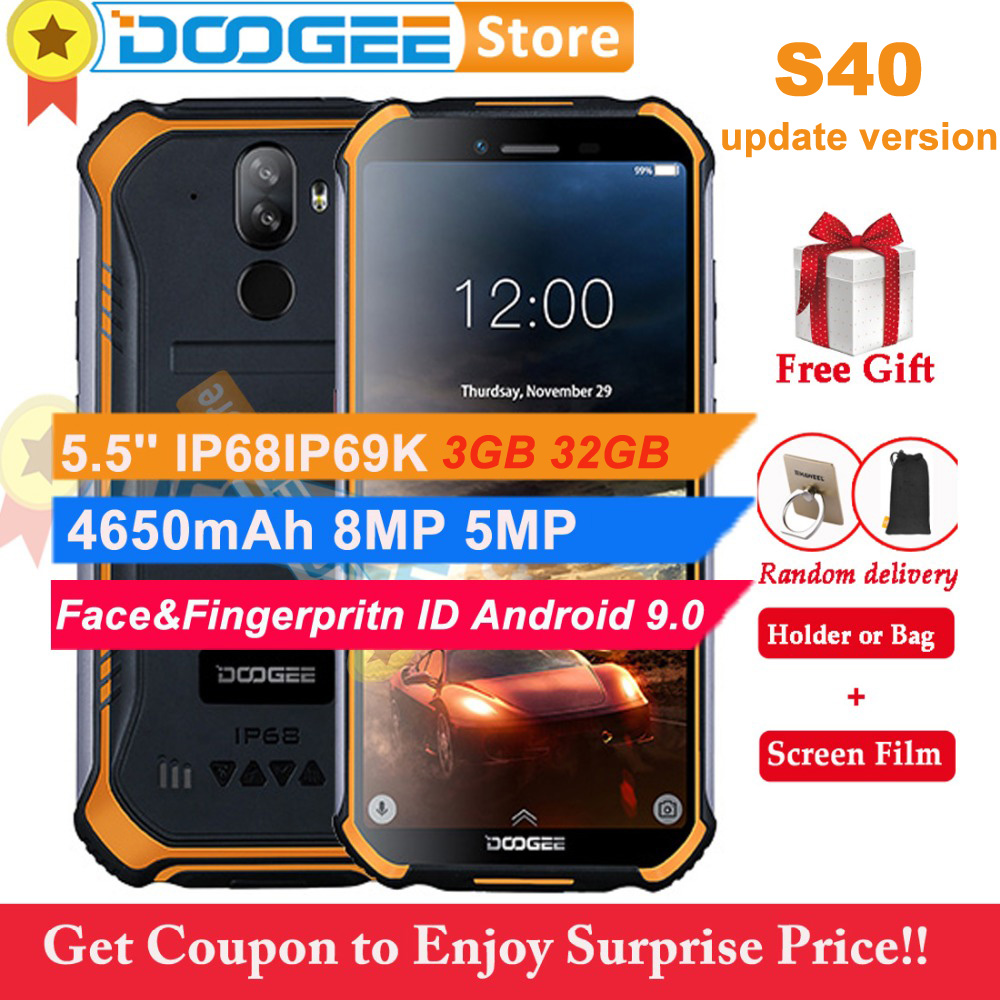 Doogee S40 3GB 32GB Android 9 0 Pie Cell Phone IP68 IP69K Waterproof 5 5 4650mAh
