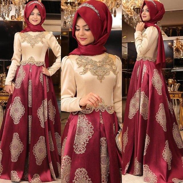 4eb6d10615164 Arapça uzun Akşam Önlük Elbiseler Kadın Kaftan Dubai Türban Abiye Aplikler  Saten Uzun Kollu Müslüman Abiye