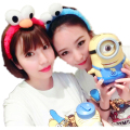 Korea Lovely Sesame Street Elmo Hairbands Headbands Hair cute cartoon face Funny plush hair bands Cute Cookie Monster headband