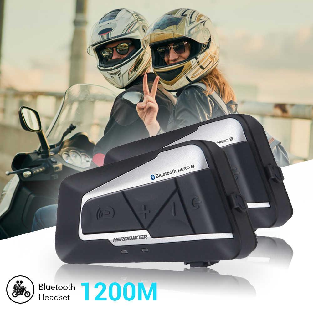HEROBIKER 2 комплекта 1200 M BT мотоцикл беспроводное радиоустройство Bluetooth Мото шлем гарнитура Водонепроницаемый переговорное устройство fm радио для 2 аттракционов