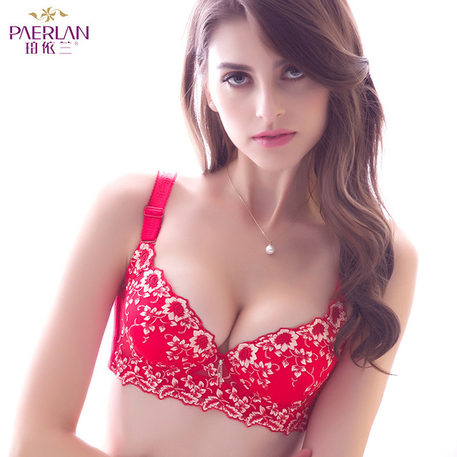 PAERLAN Push Up Adjusted-straps bra sexy deep v embroidery boutique received small breasts underwear