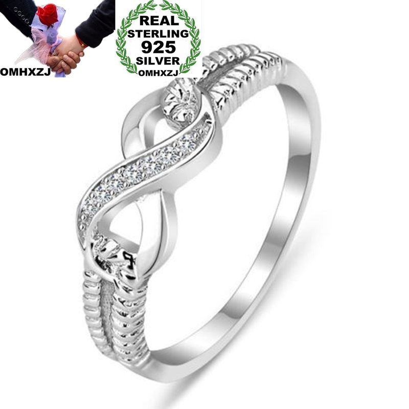 OMHXZJ Wholesale European Fashion Woman Girl Party Wedding Gift White Lucky 8 AAA Zircon 925 Sterling Silver Ring RR152