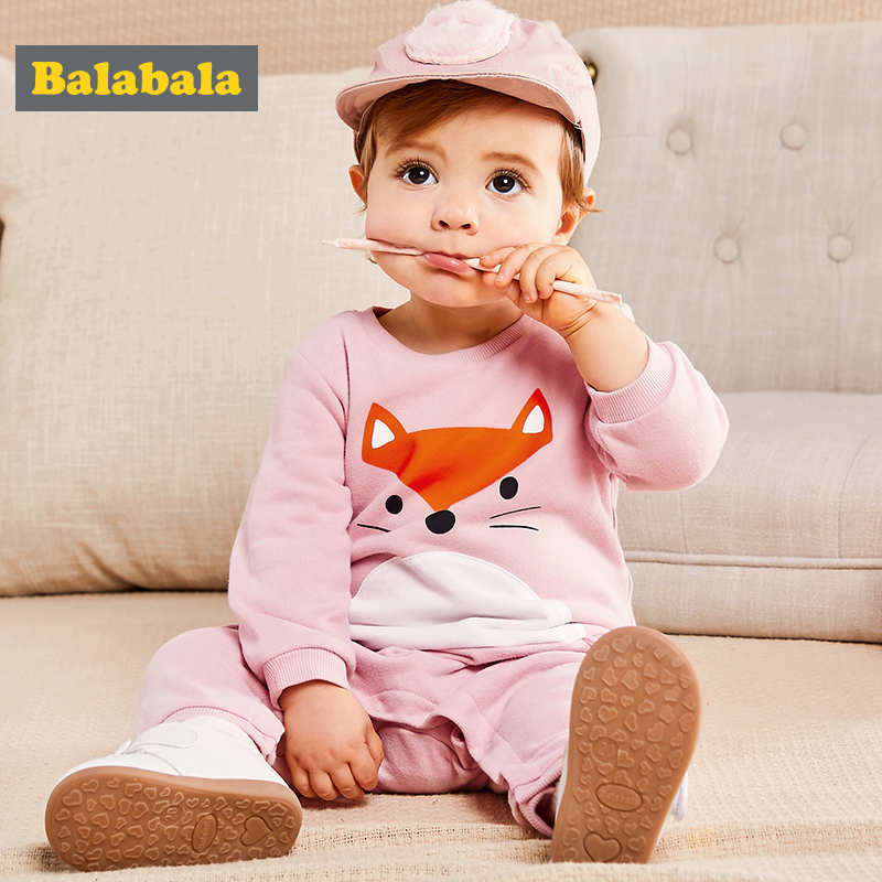 Balabala Baby Jumpsuits newborn rompers unisex spring Long Sleeve 100% cotton fox pattern Costume O-Neck clothes for infants knitted baby rompers winter costume for boy o neck striped cotton romper long sleeve jumpsuits for baby girls cute baby clothing