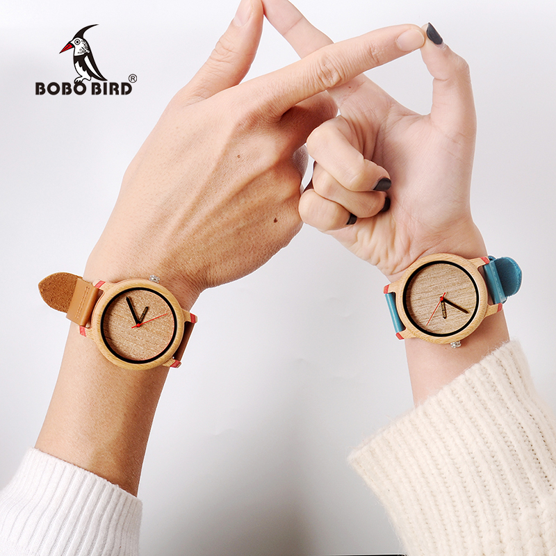BOBO BIRD Wood Watch Men Bamboo Relogio Masculino Metal Ladies Wristwatch With Leather Band Silicone Strap Customized Logo