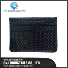 Luxury Style RFID Blocking Black Real Carbon Fiber Credit Card Holder Wallets Coin pocket