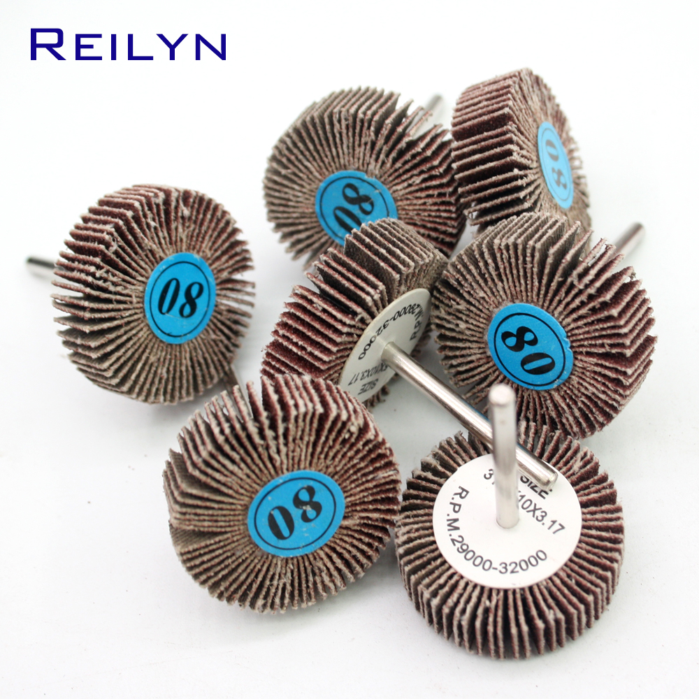 80# 3.17mmsand Paper Wheel Spindle Mop Peeling Bits Mounted Flap Wheel Bits Mops-wheel Spindle Grinding Block Polishing Bits
