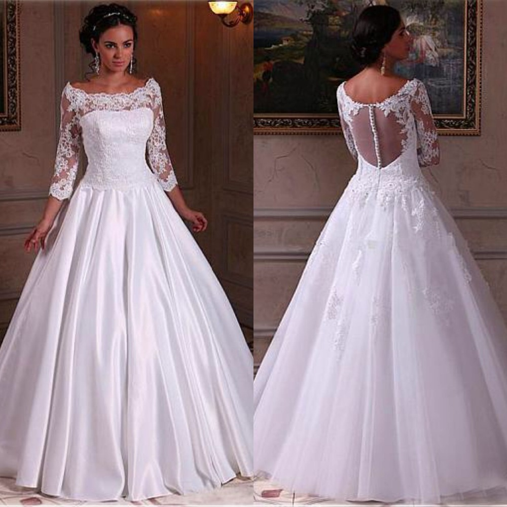 2019 White Wedding Dresses Boat Neckline Long Sleeve Dresses With Appliques Lace Illusion Back Floor Length Bridal Gowns Cheap