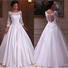 2019 לבן חתונה שמלות סירת מחשוף ארוך שרוול שמלות עם אפליקציות תחרה אשליה חזרה באורך רצפת שמלות כלה זול