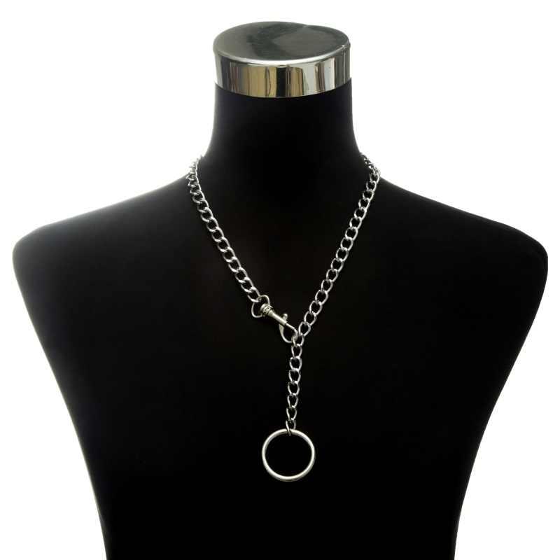 Moda srebrny choker łańcuszek naszyjnik dla kobiet/mężczyzn długi naszyjnik z łańcuszkiem wisiorek Punk Rock Gothic metalowy kołnierz z O okrągły
