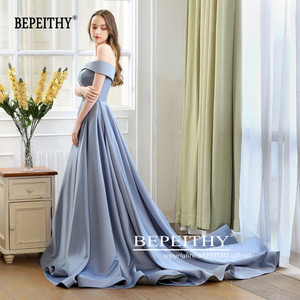 Image 5 - 2020 BEPEITHY Abiye Long Tail Dress Off The Shoulder Evening Dress Party Elegant Robe De Soiree Sexy Prom Dresses High Slit