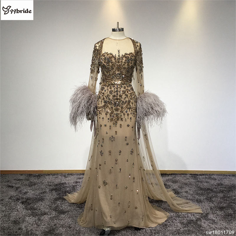 Evening     Dresses   Feathered Full Sleeves Vintage Scoop Neck   Evening     Dress   Hand Sewing Beading Long   Evening     Dress   with Cloak