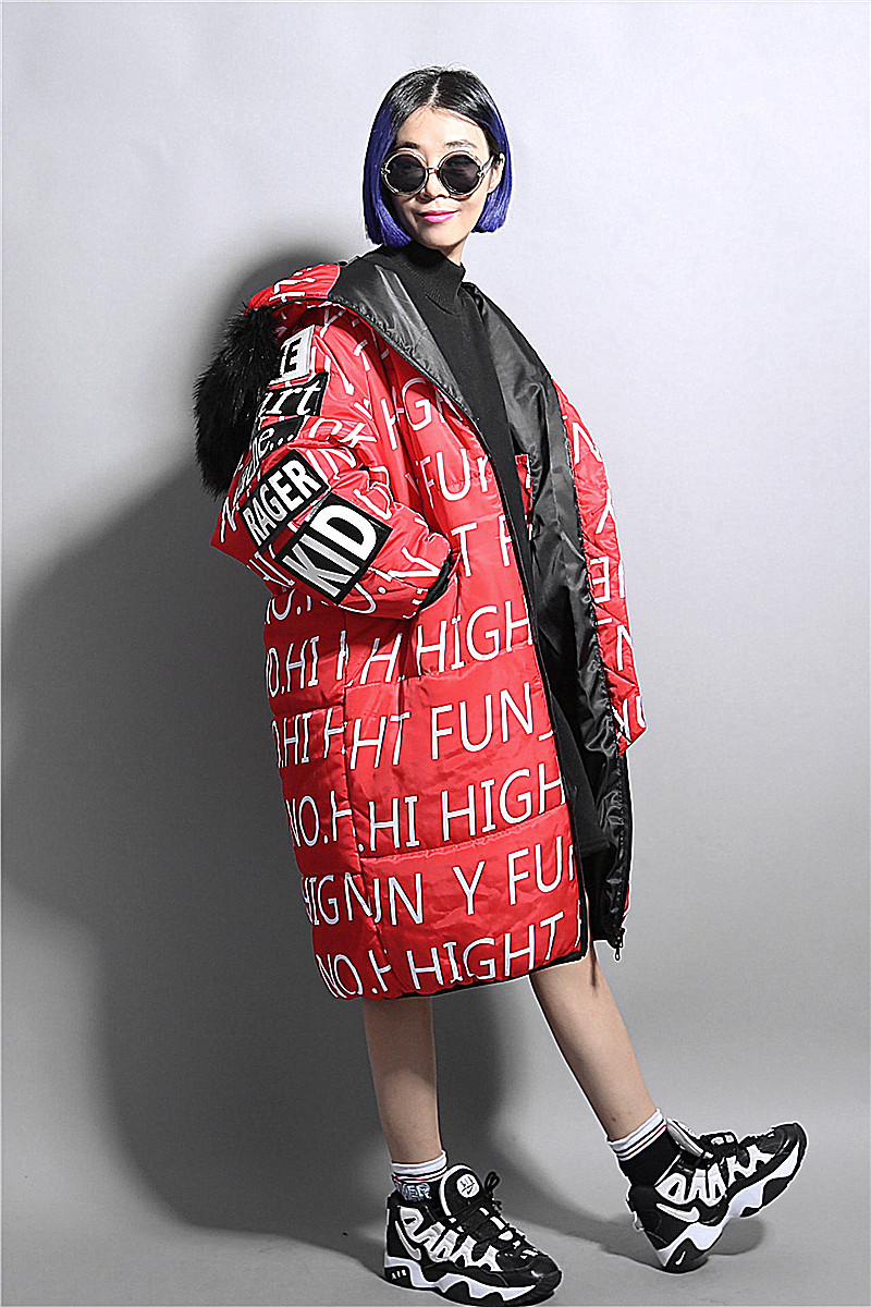 Fashion personality fashion full-body letter print thickening with a hood maomao medium-long collar wadded jacket cotton-padded 2015 new mori girl medium long thickening with a hood color block decoration cotton padded jacket wadded jacket