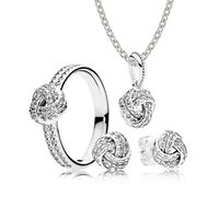 EDELL YCS 100% Dell'argento Sterlina 925 di VENDITA-Amore Scintillante nodo Regalo Set Charms anelli Fit Gioielli FAI DA TE Originale Un Set