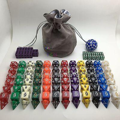 12 Sets of 7 +16d6 12mm 16mm RPG Gambling Dice 100pcs -Free D60&Velvet Bag