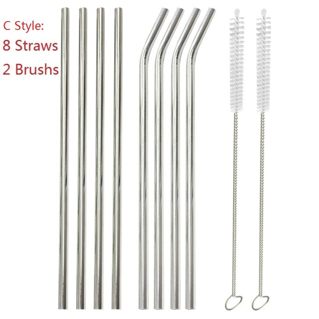 4/6/8Pcs/lot Reusable Drinking Straw Stainless Steel Metal Straw with 1/2/3 Cleaner Brush For Home Party Barware Accessories