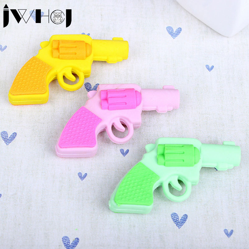 1 Pcs Novelty Toy Pistol Shape Rubber Eraser Kawaii Stationery School Supplies Papelaria Gifts For Kid Free Shipping