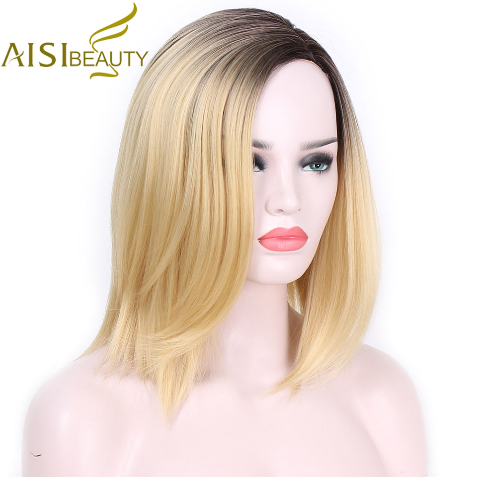 AISI BEAUTY Short Blonde Ombre Straight Synthetic Wigs For Women Cosplay Bob Wig Hair Gray Heat Resistant Hair