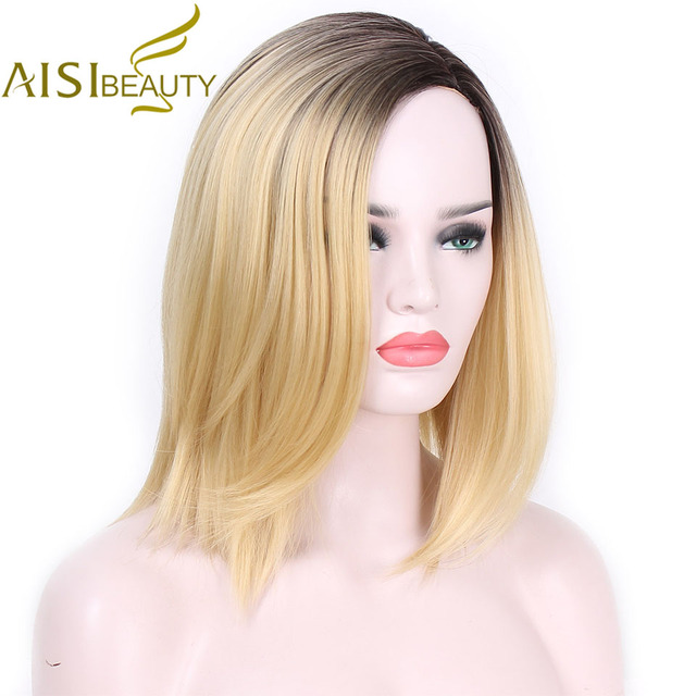 AISI BELLEZZA Breve Bionda Ombre Rettilineo Parrucche Sintetiche per Le  Donne Cosplay parrucche 13 Colori Dei df8169288f72