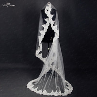 RSV9 Pearls Beaded Lace Edged Veils One Layer