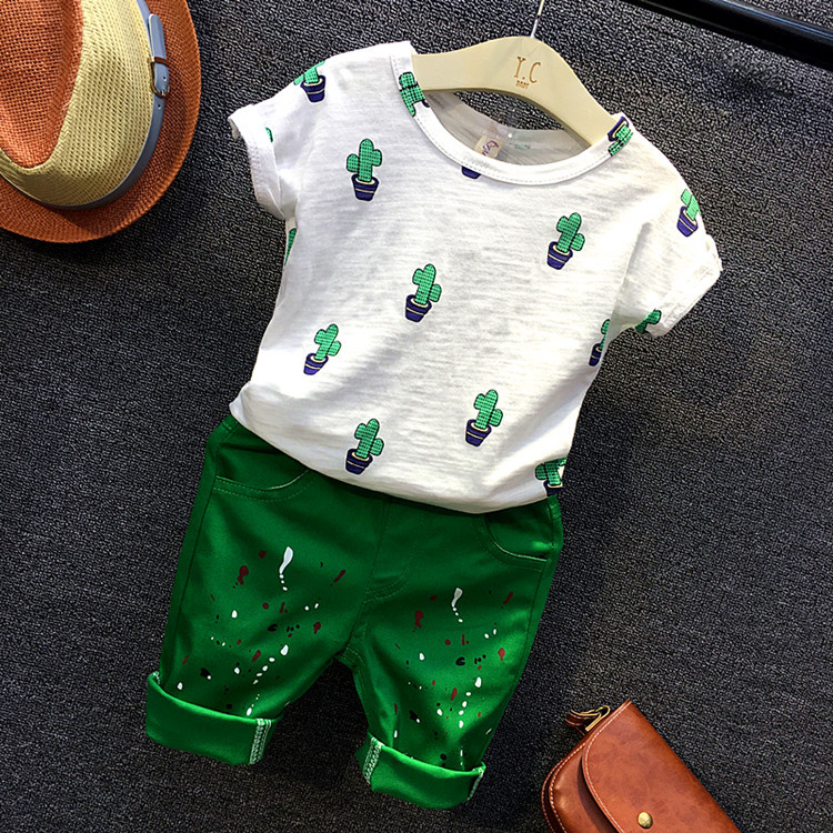 Kids boys casual clothing set baby boy white cactus printed all match t shirt and green colors pattern short 2pcs children 2-7T
