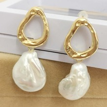 FREE SHIPPING 100% nature freshwater pearl earring,925 silver hook,AAA tear-drop shape Pearl,15x18 mm coin shape baroque