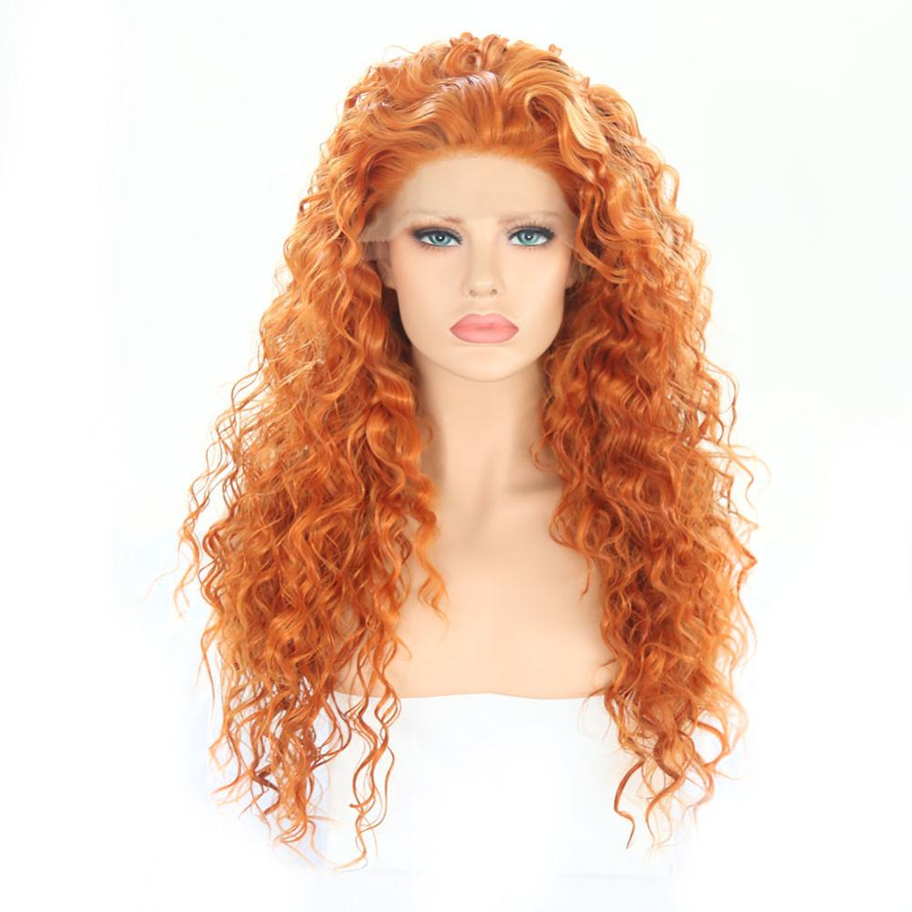 Charisma 26 Inches Long Curly Wig High Temperature Hair Synthetic Lace Front Wig Glueless Orange Red Wigs For Women