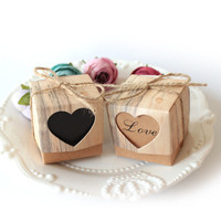 50pcs Lot Wedding Candy Box Romantic Heart Kraft Gift Bag With Heart Candy Box Wedding Favors