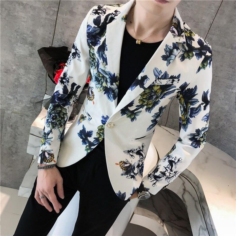 Mens Floral Blazer Male Terno Masculino Slim Fit 2018 Autumn Stylish Blazers For Men Blazers Para Hombre One Button Suit Jacket
