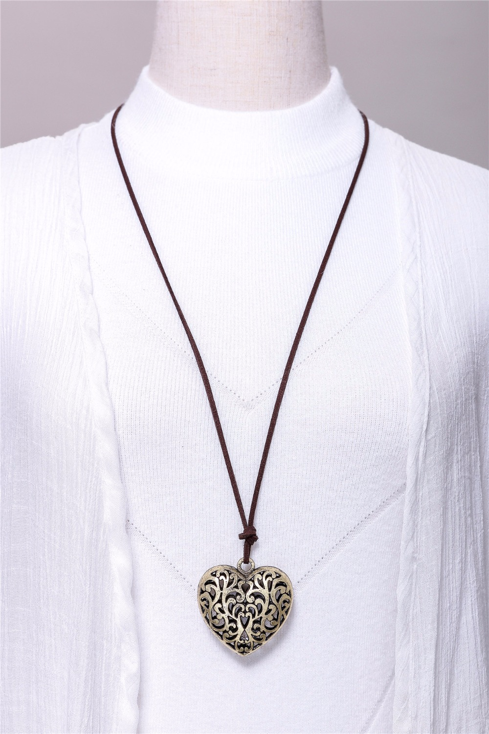 Cotton Long Rope Love Big Heart Necklace