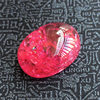 cracked ice crackle created RUBY loose stone red oval shape Flat face cabochon created gemstone beads for jewelry making