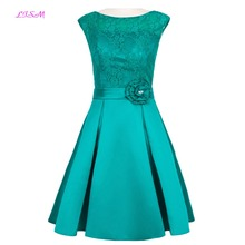 Lace Short Cocktail Dress Scoop Knee Length Satin Prom Gowns Real Photos Sleeveless Empire Zipper Back Special Occasion Dresses