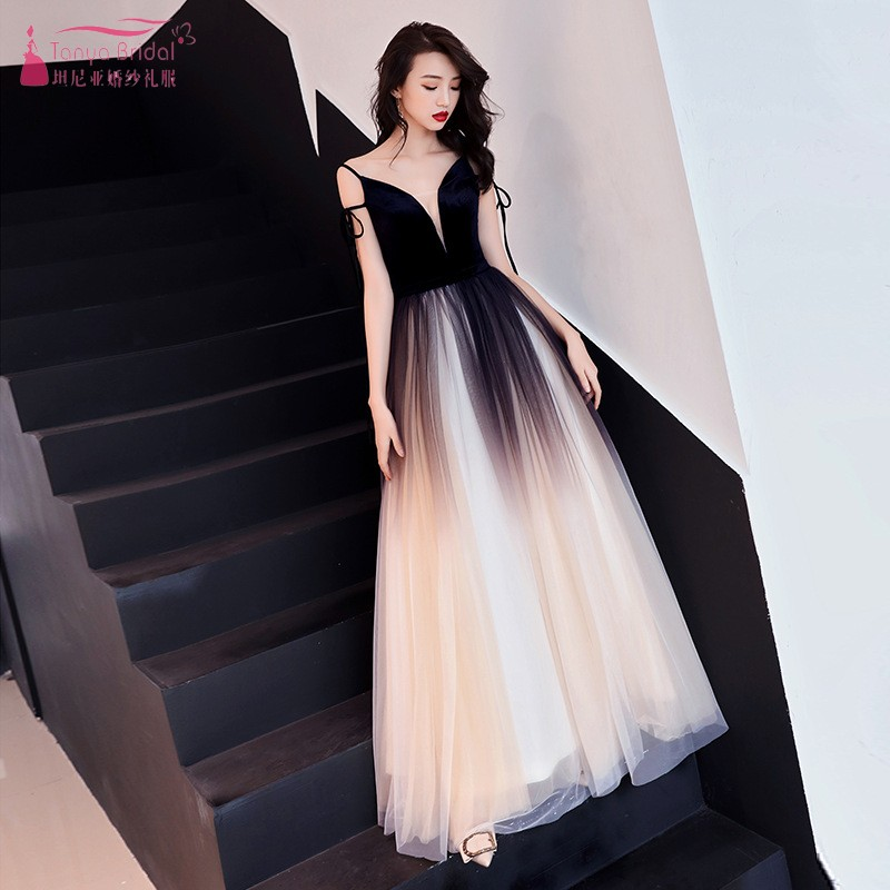 Prom     Dress   Female 2019 New Fashion Elegant Black Temperament Evening   Dresses   Dinner Reception dignified Long Style DQG688