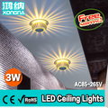 Free Shipping AC110/220V Recessed Ceiling Lights LED 3W Warm White/Cold White/Red/Green/Blue/Yellow/Purple