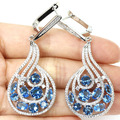 Fashion Swiss Blue Topaz, White CZ SheCrown Woman's Engagement Created  Silver Earrings 58x25mm