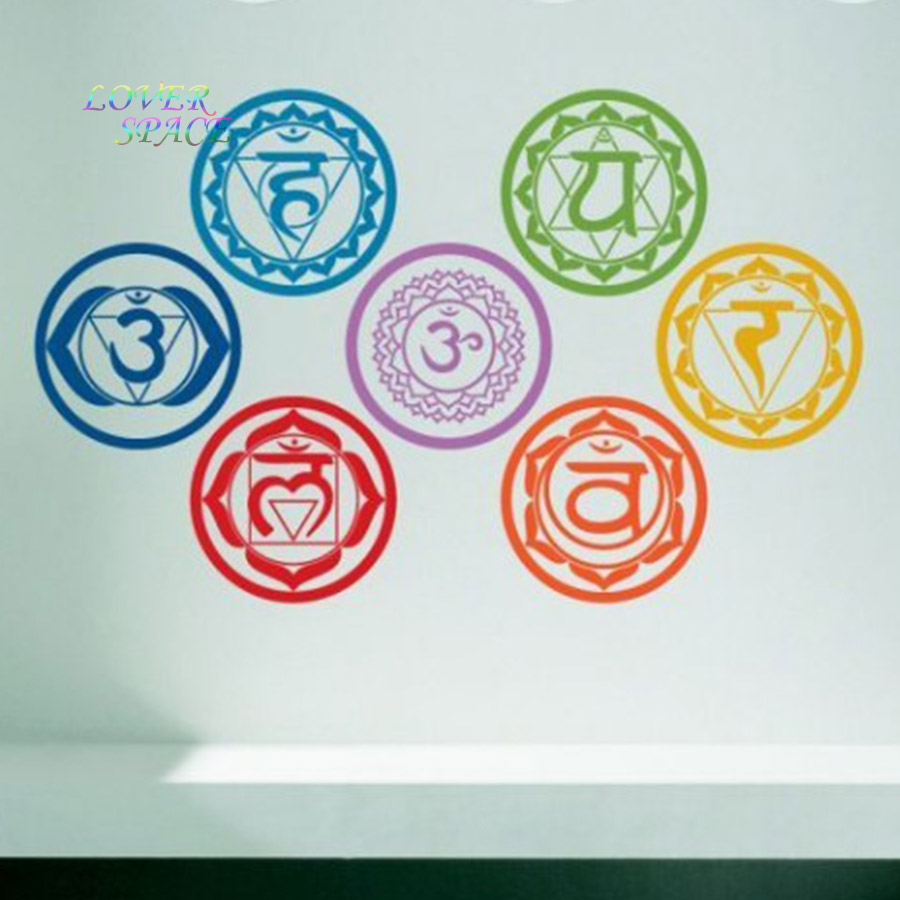 19X19 CM 7 pcs/ensemble Chakras Vinyle Stickers Muraux Mandala Yoga Om Méditation Symbole Stickers Muraux Décoration Mur décoration sticker