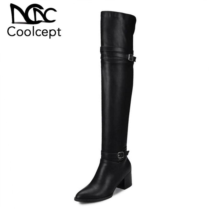 Coolcept Size 32 48 Women Over Knee Boots Buckle High Heel Boots Warm Shoes Women Winter