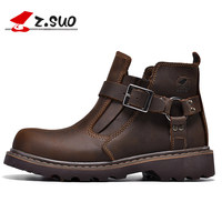 Mens Leather Boot Fashion Spring Autumn Casual Shoe High Top Men's Winter Boots Plush Fur Warm Work Shoes Safety Footwear D50