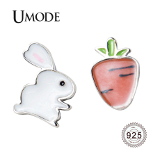 UMODE 2019 New Fashion 925 Sterling Silver Rabbit&Carrot Stud Earrings for Women Cute Animal White Gold Jewelry ALE0540