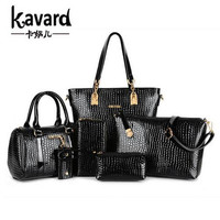 Luxury Women Designer Handbags High Quality Black Composite Chains Alligator 6 PCS Set 2Handbag Messenger Bag