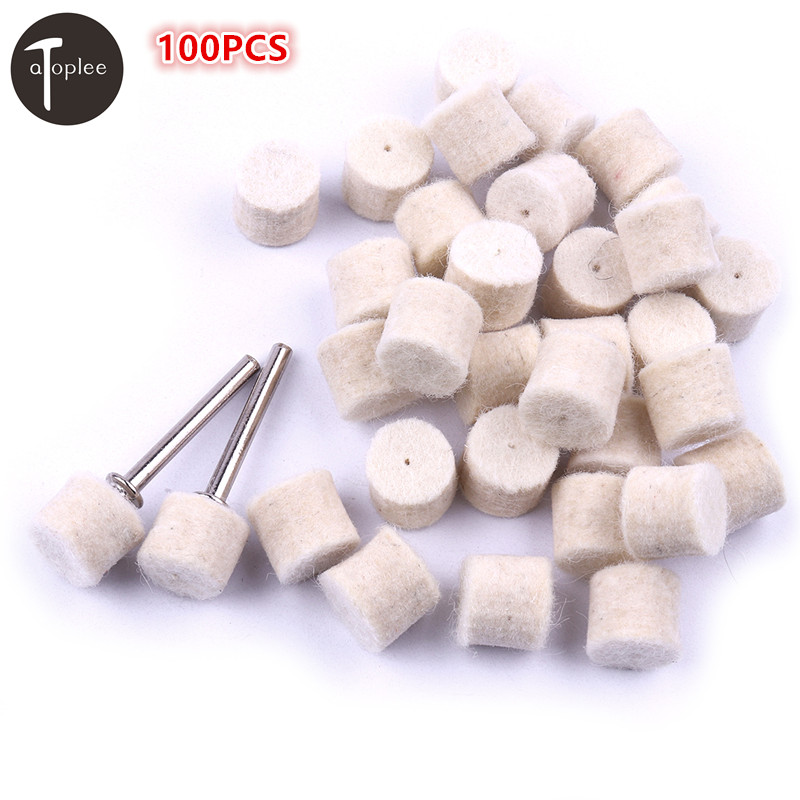 Atoplee 100PCS 13mm Wool Polishing Grinding Wheel Head For Metal Electric Grind Polish Dremel Tools With 2 Clamp Shanks