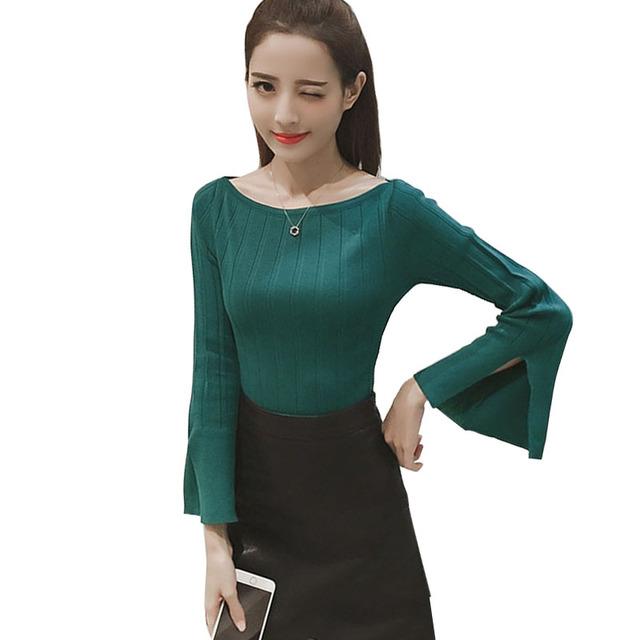 Mulheres malha pullover jumper de camisola barra pescoço abertura de fenda flare mangas fino inferior fina o pescoço de tricô desgaste ropa mujer
