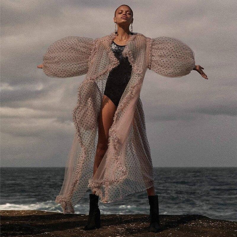 Manches Poche D'été Lanterne Grande Mesh Vêtements Rose Tops Femme Plage Mode Patchwork Doux Ruches Chemise Pink Blouse Dot Femmes wq7f1RPx