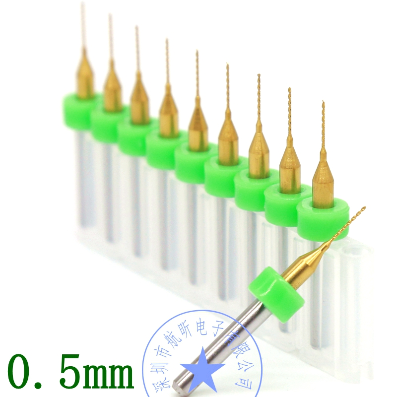 Titanium Coating PCB Bit Tungsten Carbide 10PCS 0.5mm Metal Drill CNC Router Tools, Miniature Sculpture Step Drill Kit titanium coated pcb drill 3 175mm 0 8mm drill tool 10pcs printed circuit board mini engraved metal cnc router woodworking