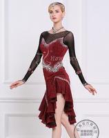 rhinestone wine red customize custom back cutout Rumba cha cha salsa tango Latin dance competition dress