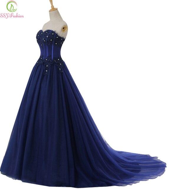 2017 ssyfashion luxus marineblau spitze lange prom dress die braut ...